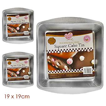 3 x Queen of Cakes 19cm x 19cm Square Cake Tin, Steel, 3 x (19cm x 19cm), 9999267-STEEL