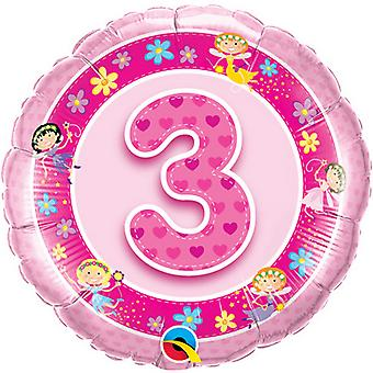 QUALATEX 18 pouces 3 ans Pink Fairies Design feuille circulaire ballon