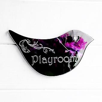 Floral Dove Acrylic Mirror Door or Wall Sign - PLAYROOM