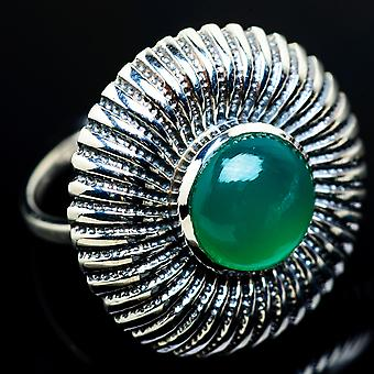 Large Green Onyx Ring Size 9.25 (925 Sterling Silver)  - Handmade Boho Vintage Jewelry RING7751