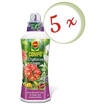 Sparset: 5 x COMPO flowering plant fertilizer, 1 litre