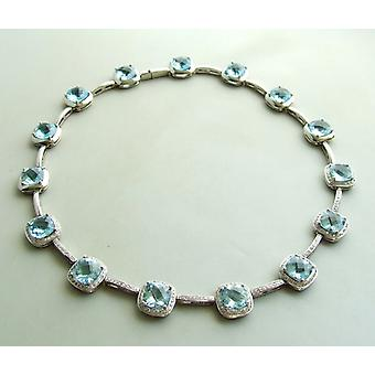 18 carat white gold topaz and diamond necklace