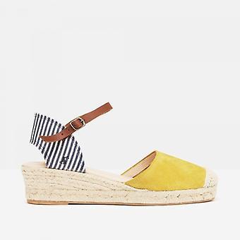 Joules Winnie damas cuña zapatos de tacón marino stripe
