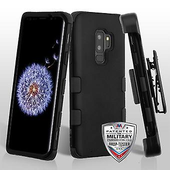 MYBAT Rubberized Black/Black TUFF Hybrid Phone Protector Cover(w/ Holster) for Galaxy S9 Plus