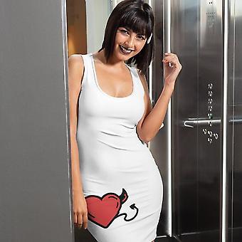 Schlanke Fit Kleid | Herzteufel in Weiß