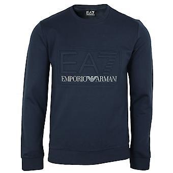 Ea7 emporio armani men's navy raised logo sweatshirt