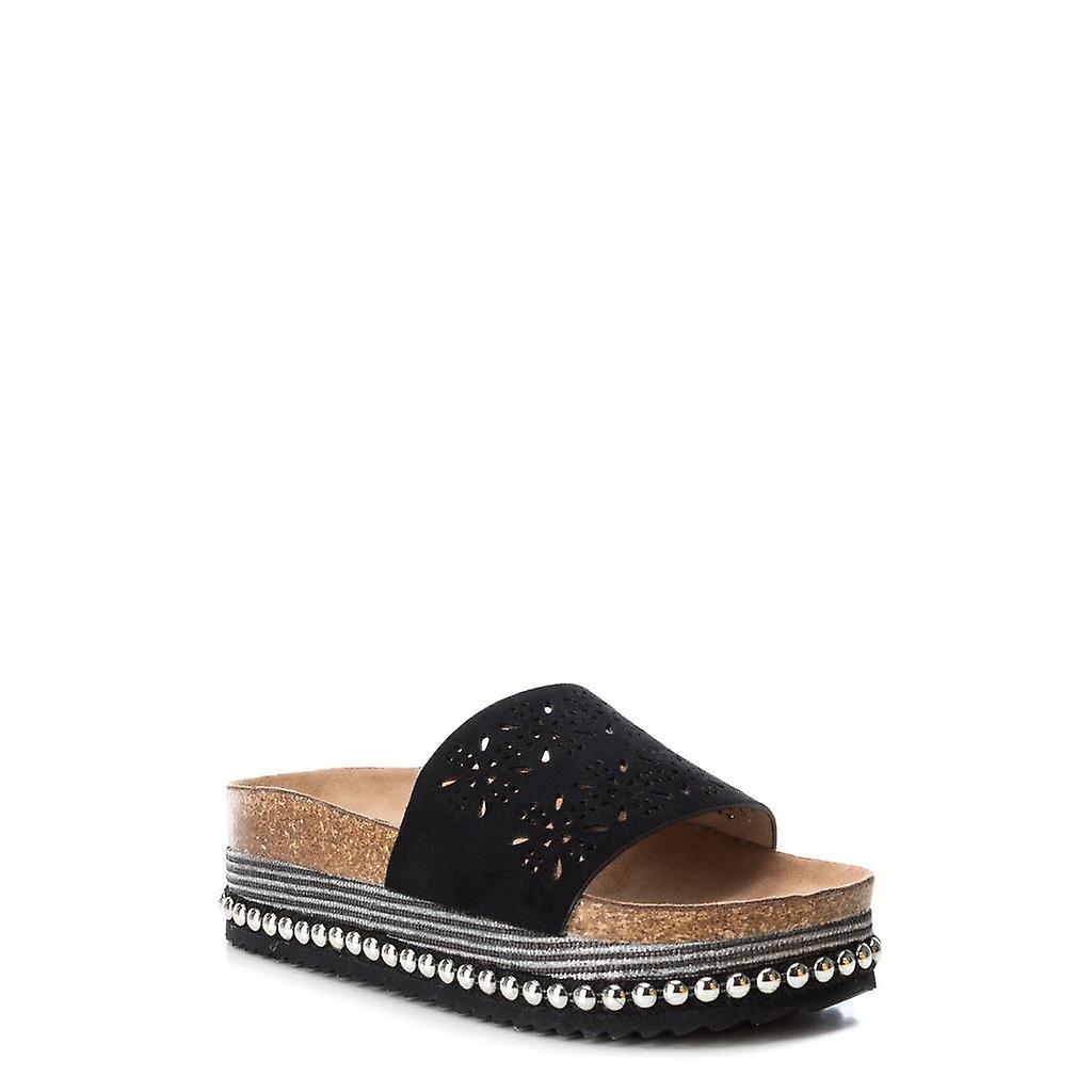 Xti 48771 Black Wedge Heeled Flip-flops