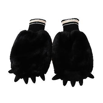 Dolce & Gabbana Gloves Black Faux Fur Runway Wrist Paw