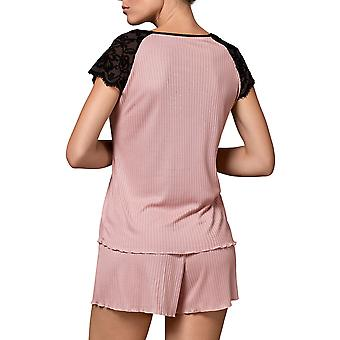Nippex Women-apos;s Ollala Pink Ribbed Lace Pajama Short Pyjama Set