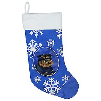 Bruxelles Griffon vinter snefnug snefnug ferie Christmas strømpe LH9298