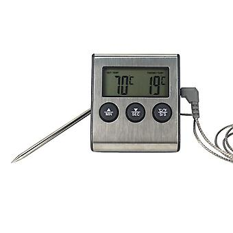 Digital Bbq Cooking Oven Thermometer - Kitchen Food Temperature Meter For Grill Timer Function