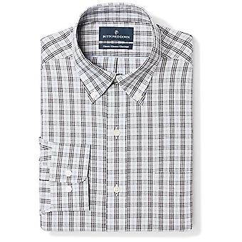"""BUTTONED DOWN Men's Classic Fit Button Collar Pattern Non-Iron Dress Shirt, Grey/Black Plaid, 18.5"""" Neck 36"""" Sleeve (Big and Tall)"""