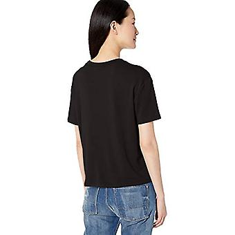 Marca - Daily Ritual Women's Supersoft Terry Short-Sleeve Boxy Pocket Tee, Preto, X-Small