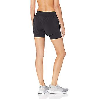 Core 10 Women's Standard Knit Waistband Run Short with Built-in Compression, Black S (4-6)