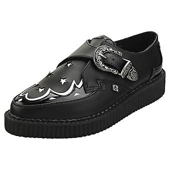 T.U.K Pointed Monk Creeper Womens Creeper Shoes in Black White