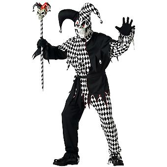 Evil Jester Mardi Gras Joker Horror Clown Black White Halloween Men Costume