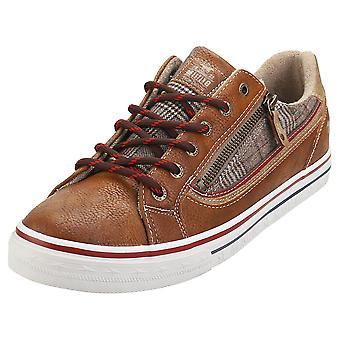 Mustang Low Top Side Zip Mens Fashion Trainers em Conhaque