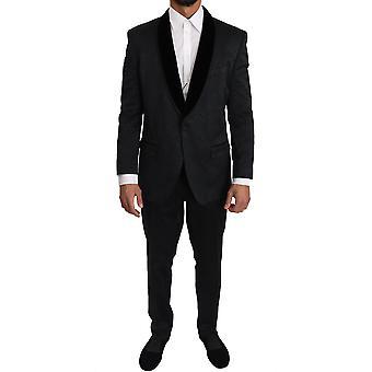 Dolce & Gabbana Black Brocade Floral 2 Piece Suit KOS1226-54