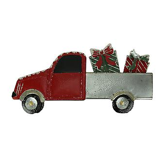 Red Metal Christmas Truck Hauler Holiday Wall Hanging, Gifts