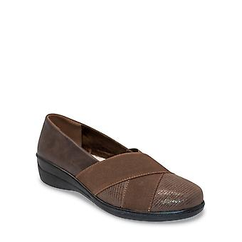 Chums Ladies Contrast Fabric Cross Over Comfort Shoe - Mary