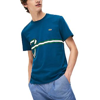 Lacoste menn's Stripe Print T-skjorte Regular Fit
