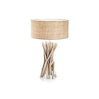 1 lampada da tavolo chiaro marrone, beige con ombra, E27