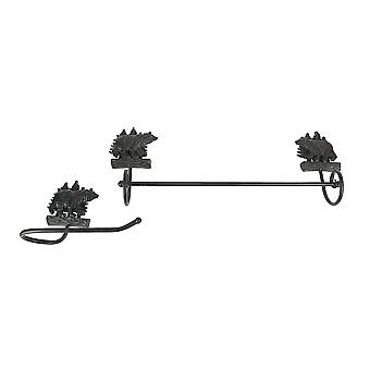 Wrought Iron Black Bear Wall Mounted Towel and Toilet Paper Holder Set Lodge Decor