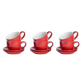 12 Stück farbige Cappuccino Tasse und Untertasse Set - modernen Stil Porzellan Tee und Kaffeetassen - rot - 250ml