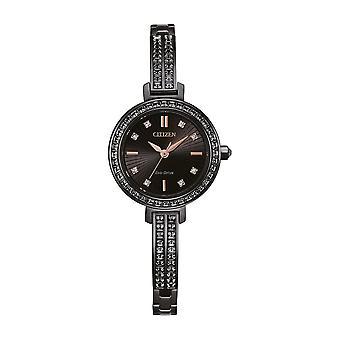 Citizen Ladies Stainless Steel Bangles Analog Black Watch EM0865-58E