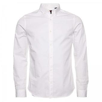 سوبردري كلاسيك Twill لايت زر أسفل L / S قميص أبيض 01C