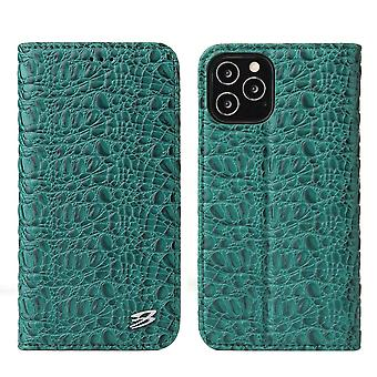 Para iPhone 12 mini Case Crocodile Genuíno Cow Wallet Capa de Couro Verde