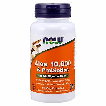 Jetzt Lebensmittel Aloe 10.000 & Probiotika, 60 Veg Kapseln