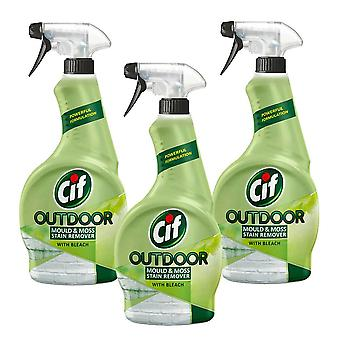 Cif Outdoor Mould & Moss Stain Remover with Bleach Spray, Pack of 3, 450ml
