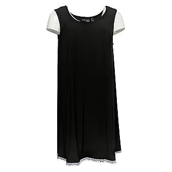 Attitudes By Renee Women's Top Como Jersey Tunic W/ Tank Black A353138