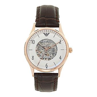 Armani Ar1920 Meccanico Rose Gold & Brown Textured Leather Automatic Men's Watch