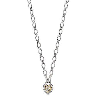 Elementen Silver Womens 925 Sterling Silver Heart Padlock Ketting ketting met geel gouden plating lengte 41cm + 5cm