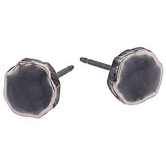 Ti2 Titaani Litistetty 7mm Pyöreä Nasta korvakorut - Musta