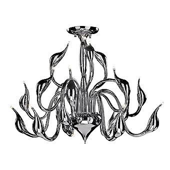 Italux Swan - Moderno Flush Ceiling Light Chrome 18 Light G4