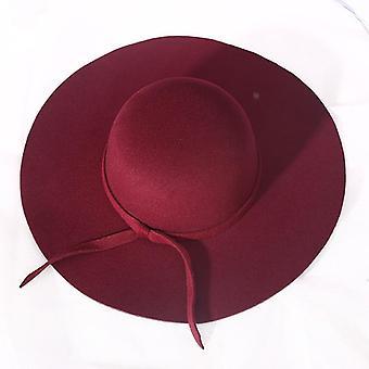 الخريف / الشتاء فيدورا الأزياء المتضخم قبعة الصوف الكبير شقة أعلى قبعة بريم واسعة