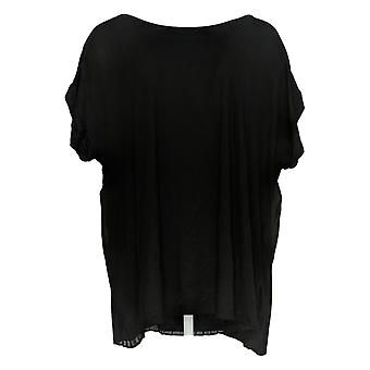 Lisa Rinna Collection Women's Top Short Slv Pleated Back Black A351131