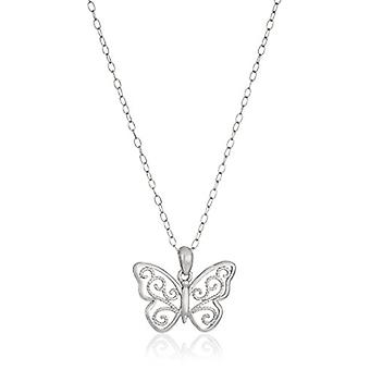 "Sterling Silver Filigree Butterfly Pendant Necklace, 18"", Silver, Size No Size"
