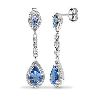 Jewelco London 9ct White Gold Claw Set Round H I1 0.19ct Diamond and Pear Blue 3.5ct Topaz Happy Tears Drop Earrings