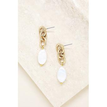 Freshwater Pearl Drop & 18k Gold Plated Chain Earrings