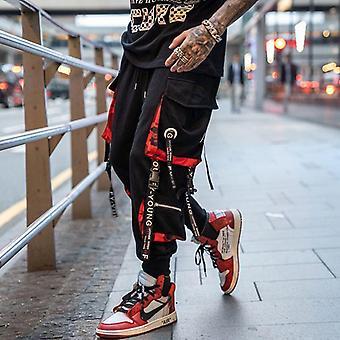 Men Hip Hop Black Cargo Pants, Joggers Sweatpant, Men Ribbons Streetwear Harem