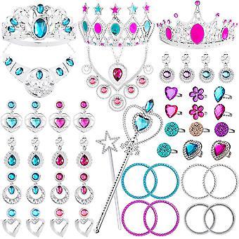 Watinc 46pack πριγκίπισσα προσποιούνται κόσμημα παιχνίδι, girl'Äôs κοσμήματα φόρεμα μέχρι το σύνολο παιχνίδι, περιλαμβάνονται κορώνες, neckl