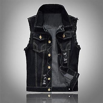 Mens Sleeveless Jeans Jacket, Denim Men Cowboy Vest, Waistcoat