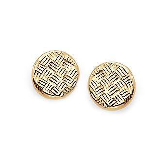 14k Yellow Diamond Cut Gold Round Stud Earrings