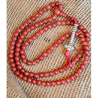 Red Coral Mala Beads - With Dorje Counter