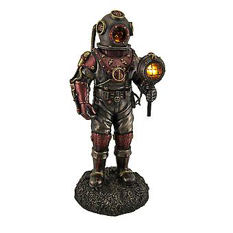 Lighted Steampunk Skeleton In Diving Suit Statue