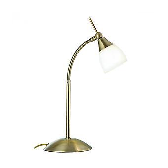 Lampes tactiles Lámpara De Mesa, En Latón Antiguo Y Vidrio Opal